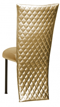 Gold Quilted Leatherette Chair Cover with Gold Stretch Vinyl Boxed Cushion on Brown Legs (1)