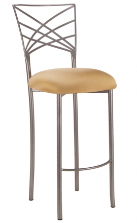 Silver Fanfare Barstool with Gold Stretch Knit (2)
