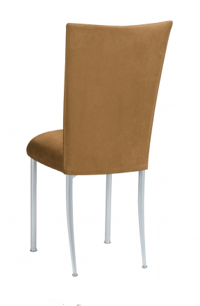 Camel Suede Chair Cover and Cushion on Silver Legs (1)