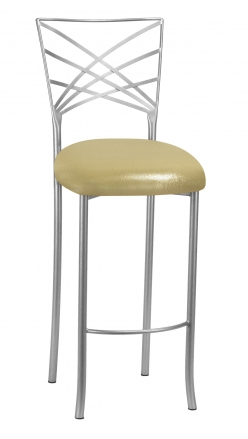 Silver Fanfare Barstool with Metallic Gold Knit Cushion (2)