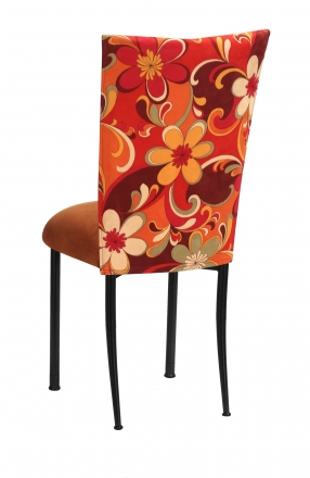 Groovy Suede Chair Cover with Copper Suede Cushion on Black Legs (1)