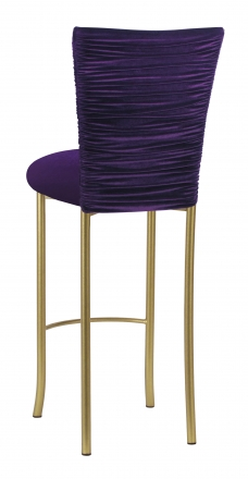 Eggplant Velvet Chloe Barstool Cover and Cushion on Gold Legs (1)