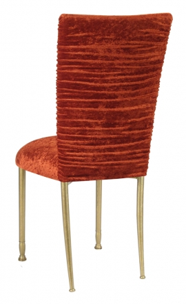 Chloe Paprika Crushed Velvet Chair Cover and Cushion on Gold Legs (1)