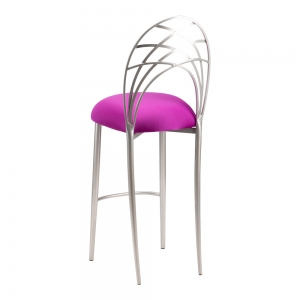 Silver Piazza Barstool with Plum Stretch Knit Cushion (1)