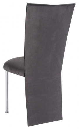 Charcoal Suede Jacket and Cushion on Silver Legs (1)