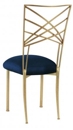 Gold Fanfare with Midnight Blue Taffeta Cushion (1)