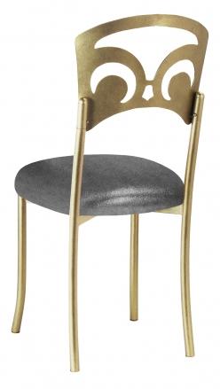Gold Fleur de Lis with Gunmetal Stretch Knit Cushion (1)