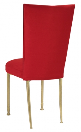 Rhino Red Suede Chair Cover and Cushion on Gold Legs (1)