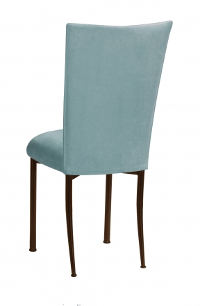 Ice Blue Suede Chair Cover and Cushion on Brown Legs (1)
