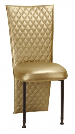 Gold Quilted Leatherette Jacket and Boxed Cushion on Mahogany Legs (2)