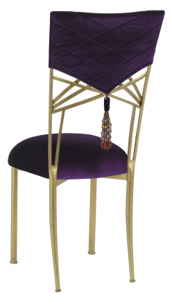 Eggplant Velvet Hat and Tassel Chair Cover with Cushion on Gold Fanfare (1)