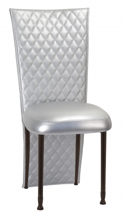 Silver Quilted Leatherette Jacket and Silver Stretch Vinyl Boxed Cushion on Mahogany Legs (2)