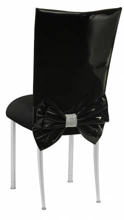 Black Patent Leather Chair Cover with Rhinestone Bow and Black Stretch Knit Cushion on Silver Legs (1)