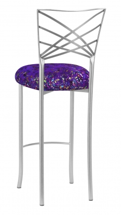 Silver Fanfare Barstool with Purple Paint Splatter Cushion (1)