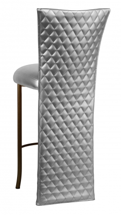 Silver Quilted Leatherette Barstool Jacket with Silver Leatherette Boxed Cushion on Brown Legs (1)