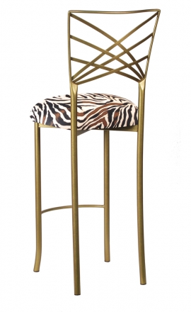 Gold Fanfare Barstool with Zebra Stretch Knit Cushion (1)