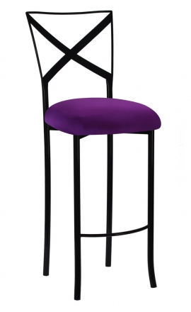 Blak. Barstool with Plum Stretch Knit Cushion (2)