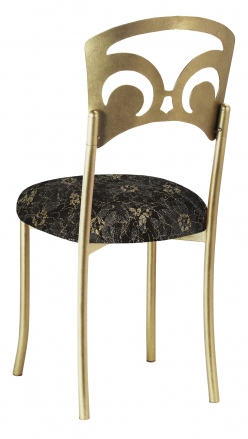 Gold Fleur de Lis with Black Lace with Gold and Silver Accents over Black Knit Cushion (1)