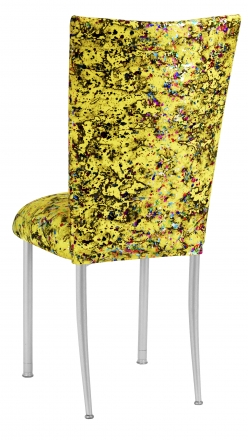 Yellow Paint Splatter Chair Cover and Cushion on Silver Legs (1)