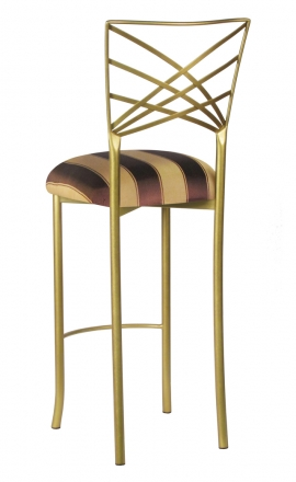 Gold Fanfare Barstool with Brown and Gold Stripe Cushion (1)