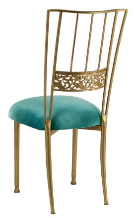 Gold Bella Fleur with Turquoise Velvet cushion (1)
