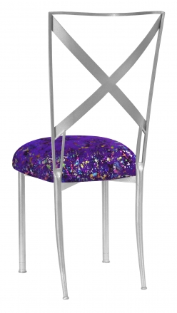 Silver Simply X with Purple Paint Splatter Knit Cushion (1)