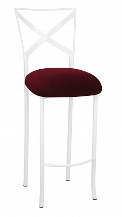 Simply X White Barstool with Cranberry Velvet Cushion (2)