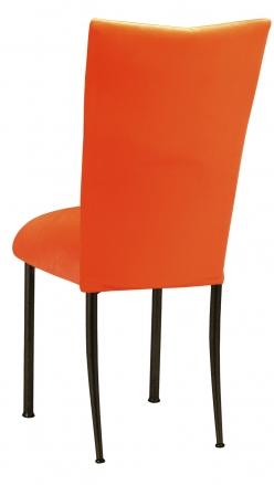 Orange Velvet Chair Cover and Cushion on Brown Legs (1)