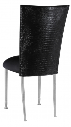 Black Croc Chair Cover with Black Stretch Knit Cushion on Silver Legs (1)