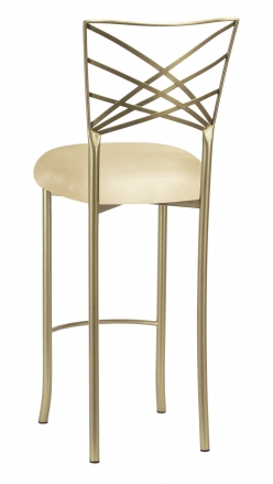 Gold Fanfare Barstool with Champagne Metallic Knit Cushion (1)