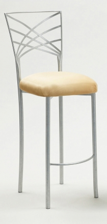 Silver Fanfare Barstool with Buttercup Suede Cushion (2)