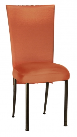Orange Taffeta Scales 3/4 Chair Cover with Orange Taffeta Boxed Cushion on Brown Legs (2)