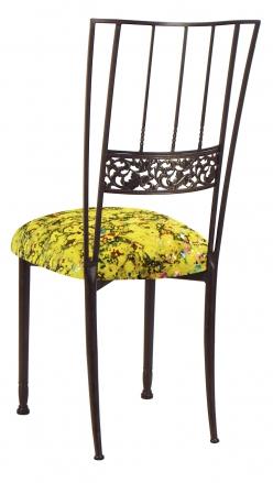 Mahogany Bella Fleur with Yellow Paint Splatter Knit Cushion (1)