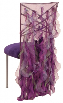 Ruffles with Cavalli Chair Cover and Eggplant Velvet Cushion on Silver Legs (1)