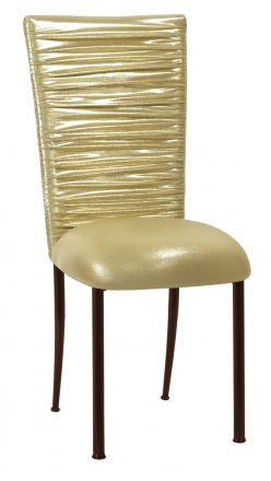 Chloe Metallic Gold Stretch Knit Chair Cover and Cushion on Brown Legs (2)