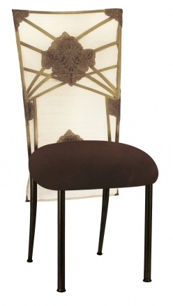 Two Tone Gold Fanfare with Organza Medallion 3/4 Chair Cover and Chocolate Suede Cushion (2)