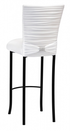 Chloe White Stretch Knit Barstool Cover with Rhinestone Accent Band and Cushion on Black Legs (1)
