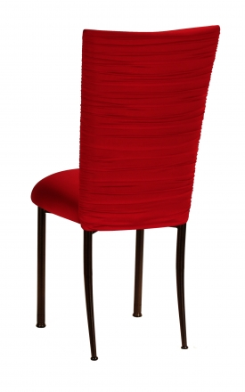 Chloe Red Stretch Knit Chair Cover and Cushion on Brown Legs (1)
