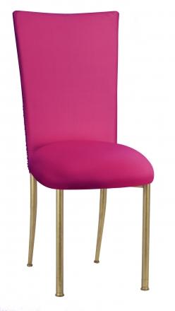 Chloe Fuchsia Stretch Knit Chair Cover and Cushion on Gold Legs (2)