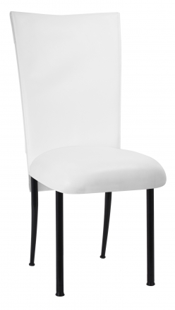 White Tiered Leatherette Chair Cover and Cushion on Black Legs (2)
