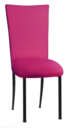 Chloe Fuchsia Stretch Knit Chair Cover and Cushion on Black Legs (2)