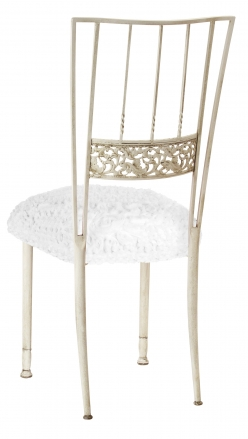 Ivory Bella Fleur with White Lace over White Knit Cushion (1)