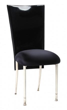 Black Patent 3/4 Chair Cover with Black Stretch Knit Cushion on Ivory Legs (2)