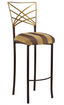 Two Tone Gold Fanfare Barstool with Gold and Brown Stripe Cushions (2)