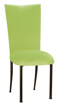 Lime Green Velvet Chair Cover and Cushion on Brown Legs (2)