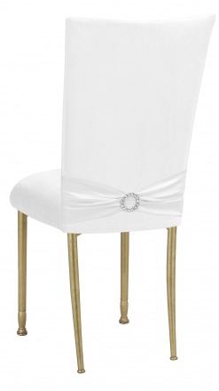 White Suede Chair Cover with Jewel Belt and Cushion on Gold Legs (1)