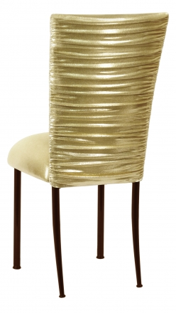 Chloe Metallic Gold Stretch Knit Chair Cover and Cushion on Brown Legs (1)