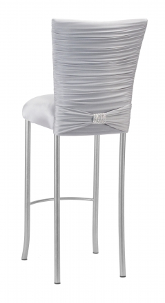 Chloe Silver Stretch Knit Barstool Cover with Rhinestone Accent Band and Cushion on Silver Legs (1)