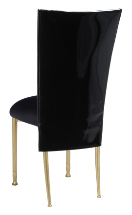 Black Patent 3/4 Chair Cover with Black Stretch Knit Cushion on Gold Legs (1)