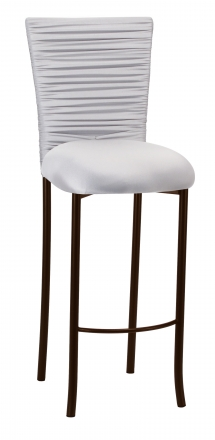 Chloe Silver Stretch Knit Barstool Cover with Rhinestone Accent Band and Cushion on Brown Legs (2)